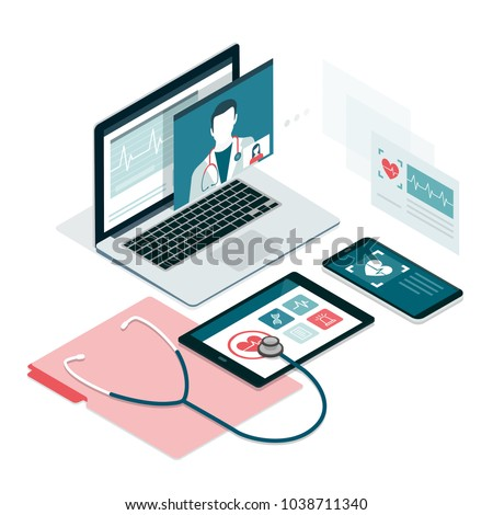 Healthcare, diagnostics and online medical consultation app on laptop, smartphone and tablet