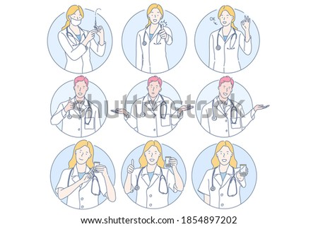 Healthcare, doctor, medicine, injection, medical exam concept. Young men and women doctors cartoon characters showing different sign and gestures with hands, holding syringe and medical exam jar