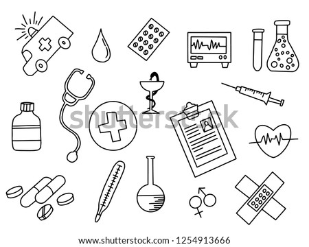 healthcare doodle black and white with outline style vector illustration