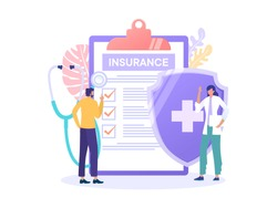 Healthcare family insurance vector illustration concept, people with doctor fill health form insurance, with big shield  can use for, landing page, template, ui, web, mobile app, poster, banner, flyer