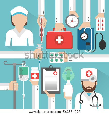 Healthcare flat design card with doctor and nurse .Vector illustration