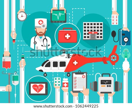 Healthcare flat design with helicopter,hospital,and doctor isolated vector illustration