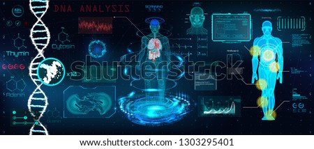 Healthcare futuristic scanning in HUD style design, Human body, organs and brain scan with pictures. Hi-tech elements. Virtual graphic touch HUD UI with illustration of DNA formula and data chart
