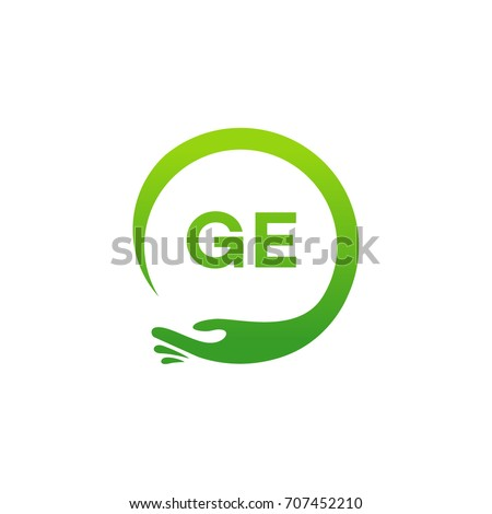 Healthcare GE initial logo designs template, Modern GE initial Care with hand symbol vector