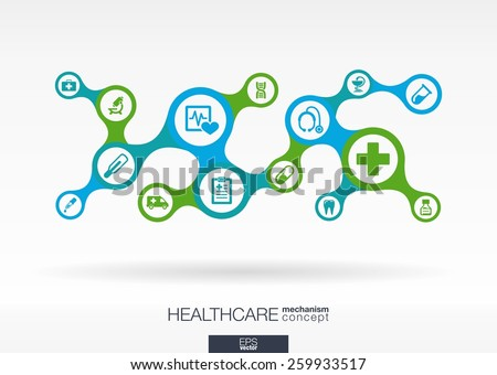 Healthcare. Growth abstract background with connected metaball and integrated icons for medical, health, care, medicine, network, social media and global concepts. Vector interactive illustration.