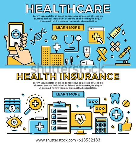 Healthcare, health insurance thin line banners set. Modern flat design art concept, line icons set for web banner, web site, advertising, mobile app, infographic. Premium quality. Vector illustration.