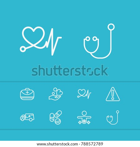 Healthcare icons set with hospital drug, cardiogram and cardiac care elements. Set of healthcare icons and donation concept. Editable vector elements for logo app UI design.