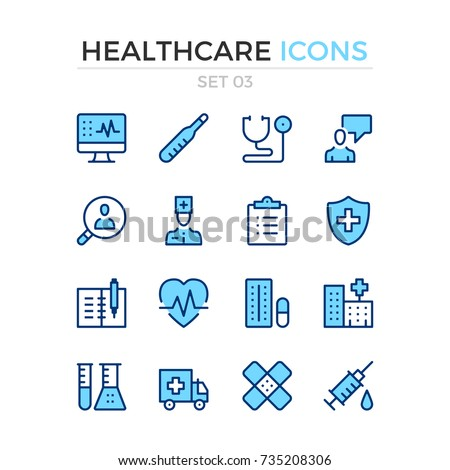 Healthcare icons. Vector line icons set. Premium quality. Simple thin line design. Modern outline symbols, pictograms.