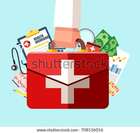 Healthcare insurance concept. First aid kit in doctor hand. Vector illustration in flat design. Medical help. Emergency services