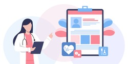 Healthcare insurance vector concept, people with doctor fill health form insurance. human life insurance.  protection of people from accidents. Healthcare services, Ask a doctor, tele medicine