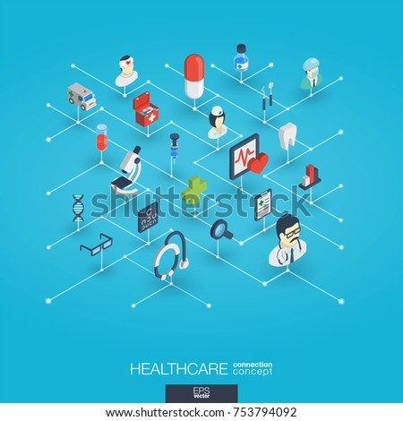 Healthcare, integrated 3d web icons. Digital network isometric interact concept. Connected graphic design dot and line system. Abstract background for medicine and medical service. Vector Infograph