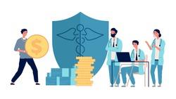 Healthcare investment. Man holding money, doctors get grants. Medicine profit, volunteer donation to hospital vector concept
