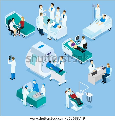 Healthcare isometric set with pediatrician dentist nurses surgery medical meeting and diagnostic procedures isolated vector illustration