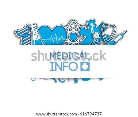 Healthcare light poster with medical blue paper stickers on white background vector illustration