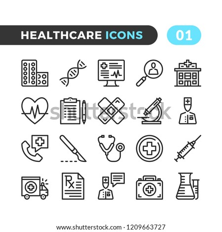 Healthcare line icons. Outline symbols collection. Premium quality. Pixel perfect. Vector thin line icons set