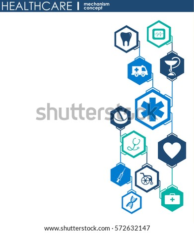 Healthcare mechanism concept. Abstract background with connected gears and icons for medical, health, strategy, care, medicine, network, social media and global concepts. Vector infographic.