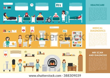 Healthcare Medical Diagnostics MRI Scan hospital interior concept web vector illustration. Doctor, Nurse, Patient, Healthcare. Medicine service presentation