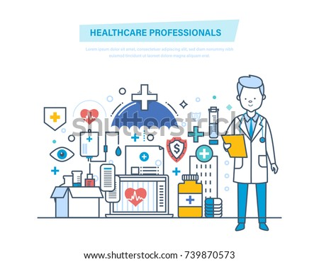 Healthcare medical professionals. Medical doctor, nurses, staff people. Healthcare, medical help, diagnostics, analysis. Institution, hospital clinic Illustration thin line design of vector doodles #739870573