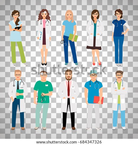 Healthcare medical team workers isolated on transparent background. Smiling doctors and nurses in uniform for health care projects. Vector illustration
