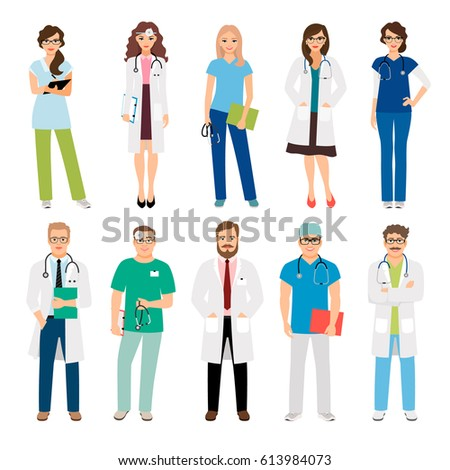 Healthcare medical team workers isolated on white background. Smiling doctors and nurses in uniform for health care projects. Vector illustration