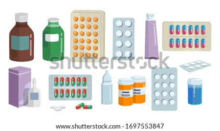 Healthcare medications in different forms set vector illustration. Bottle with pills, plastic tubes with caps, blisters and droplets flat style. Meds concept. Isolated on white background Stock photo ©