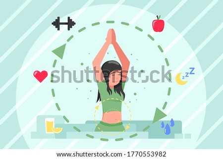 Healthcare, medicine, metabolism, lifestyle concept. Conversion of nergy from food to sleep of young sporty woman. Healthy nutrition and lifestyle digestive tract and biochemistry synthesis process. Photo stock ©