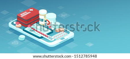 Healthcare online pharmacy app concept. Vector of prescription drugs, first aid kit and medical supplies being sold online via smartphone application technology