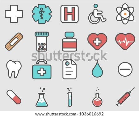 Healthcare professional icons set. Simple set of flat healthcare professional vector icons for web isolated on gray background