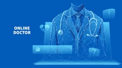 Healthcare services. Online medical consultation. A doctor in a white lab coat with a stethoscope on the laptop screen. Low poly wireframe vector illustration on blue. Online hospital concept.
