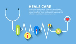Healthcare, stethoscope, cardiogram, health monitoring, concepts set. Modern flat design concepts for web banners, web sites, printed materials, infographics. Creative vector illustration