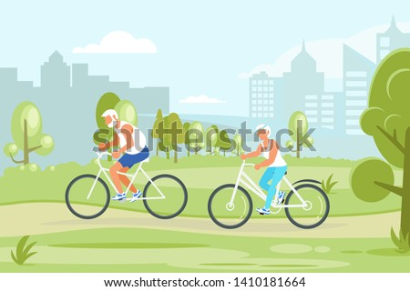 Healthy active lifestyle retiree for grandparents. Elderly people characters cycling in the city park. Grandparents family Seniors isolated. Flat Art Vector illustration