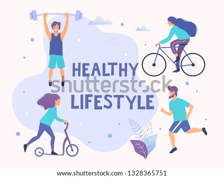 Healthy active lifestyle vector illustration. Different physical activities: running, bodybuilding, scooter, nordic walking.