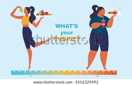 Healthy and Unhealthy Lifestyle Infographics. Before After Girl Body, Fat and Slim Young Woman Figure, Food, Fitness, Diet. What Your Choice Poster Background. Cartoon Flat Vector Illustration, Banner