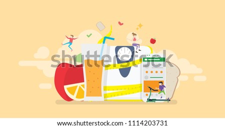 Healthy Balanced Diet Program Monitoring Mobile App Tiny People Character Concept Vector Illustration, Suitable For Wallpaper, Banner, Background, Card, Book Illustration, And Web Landing Page Concept