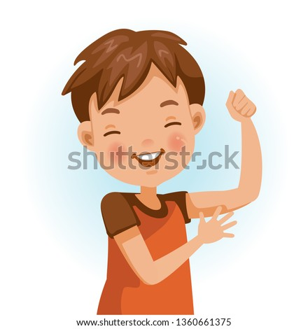 Healthy boy. Positive emotions, smiling. Cartoon character vector illustration isolated on white background.