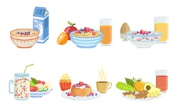 Healthy Breakfast Dishes Set, Classical Menu with Muesli, Oatmeal, Smoothie, Pancakes, Fruits, Vegetables and Berries. Vector Illustration.