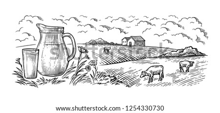 healthy Breakfast drawing sketch glass milk bottle iron can cup field cow vilage vector illustration