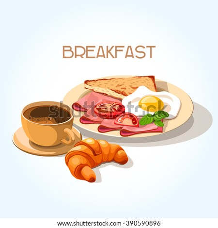 healthy breakfast set of