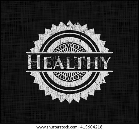 Healthy chalk emblem written on a blackboard