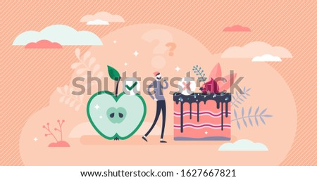 Healthy choices concept, flat tiny person vector illustration. Goals and plan for fit body and rich nutrition power. Daily food challenge avoiding tempting sweets and fast food. Weight loss program.