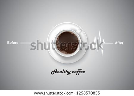 Healthy coffee with coffee cup pulse symbols. Vector illustrations.