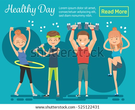 Healthy day. Poster Invites everyone to exercise. Characters make fit body. The dynamics of the sport.