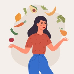 Healthy diet. Girl eating fresh fruits and vegetables. Hand drawn style vector design illustrations.