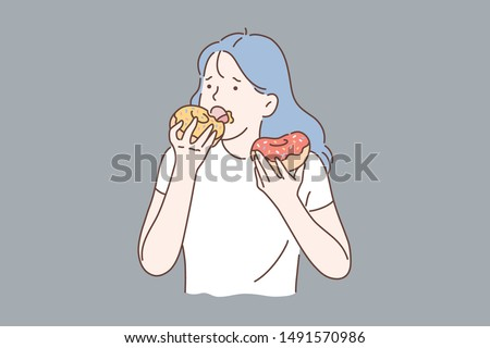 Healthy diet or junk food concept. Portrait of young depressed girl eating donuts. Simple flat vector.