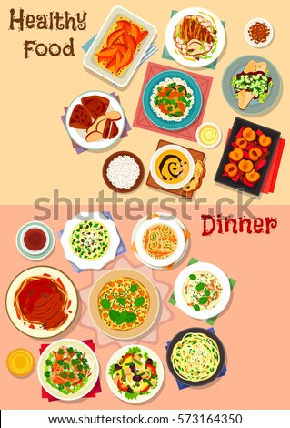 Healthy dinner dishes icon set of pasta with meat, vegetable, cheese and nuts, potato and chicken soups, tuna salad with veggies and egg, chicken tortilla, fried fish, pumpkin omelette, fruit dessert