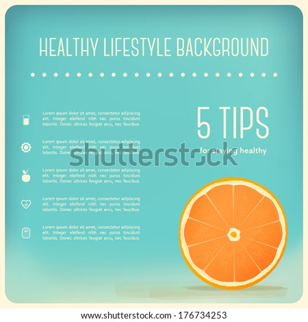Healthy Eating and Lifestyle Background Orange Slice
