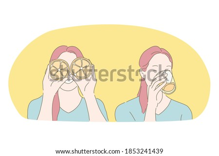 Healthy eating, citrus fresh drink, diet, vitamin, refreshment concept. Young happy woman cartoon character holding fresh orange pieces in hands and drinking freshly squeezed orange juice from glass Stock foto ©