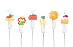 Healthy eating concept with food and forks