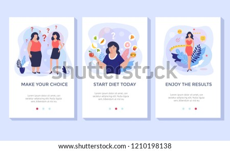 Healthy eating for weight control. Food friendly and  diet plan concept illustration, perfect for banner, mobile application.
