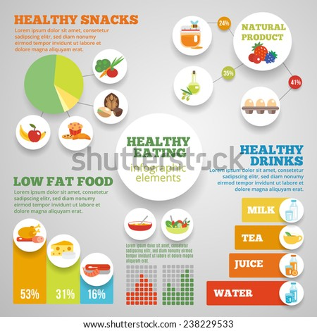 healthy eating infographic set